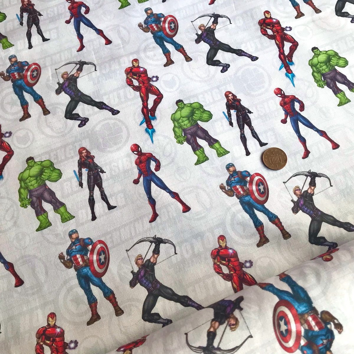 Marvel Avengers Assemble 100% Cotton Fabric 58 Inches Wide (140cm) Sold Per 1/2 Metre
