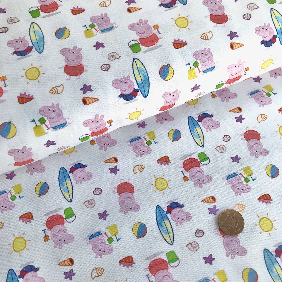 Peppa Pig at the Beach 100% Cotton Fabric 58 Inches Wide (140cm) Sold Per 1/2 Metre