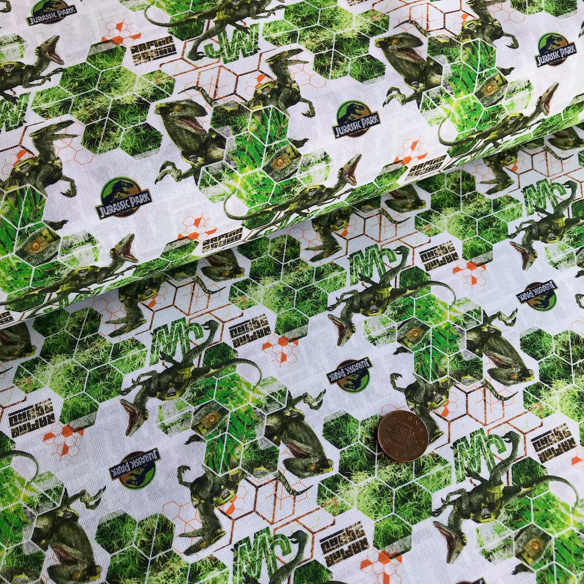 Jurassic Park Hexagons 100% Cotton Fabric 58 Inches Wide (140cm) Sold Per 1/2 Metre