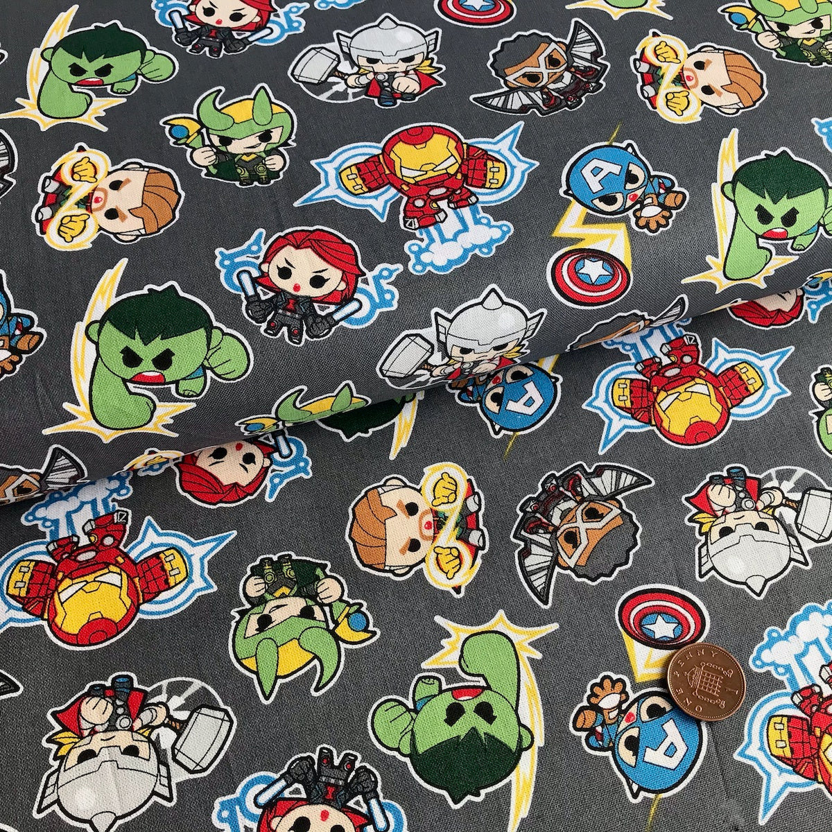 Marvel Mini Heroes Action Fabric 100% Cotton Per 1/2 Metre 112cm Wide