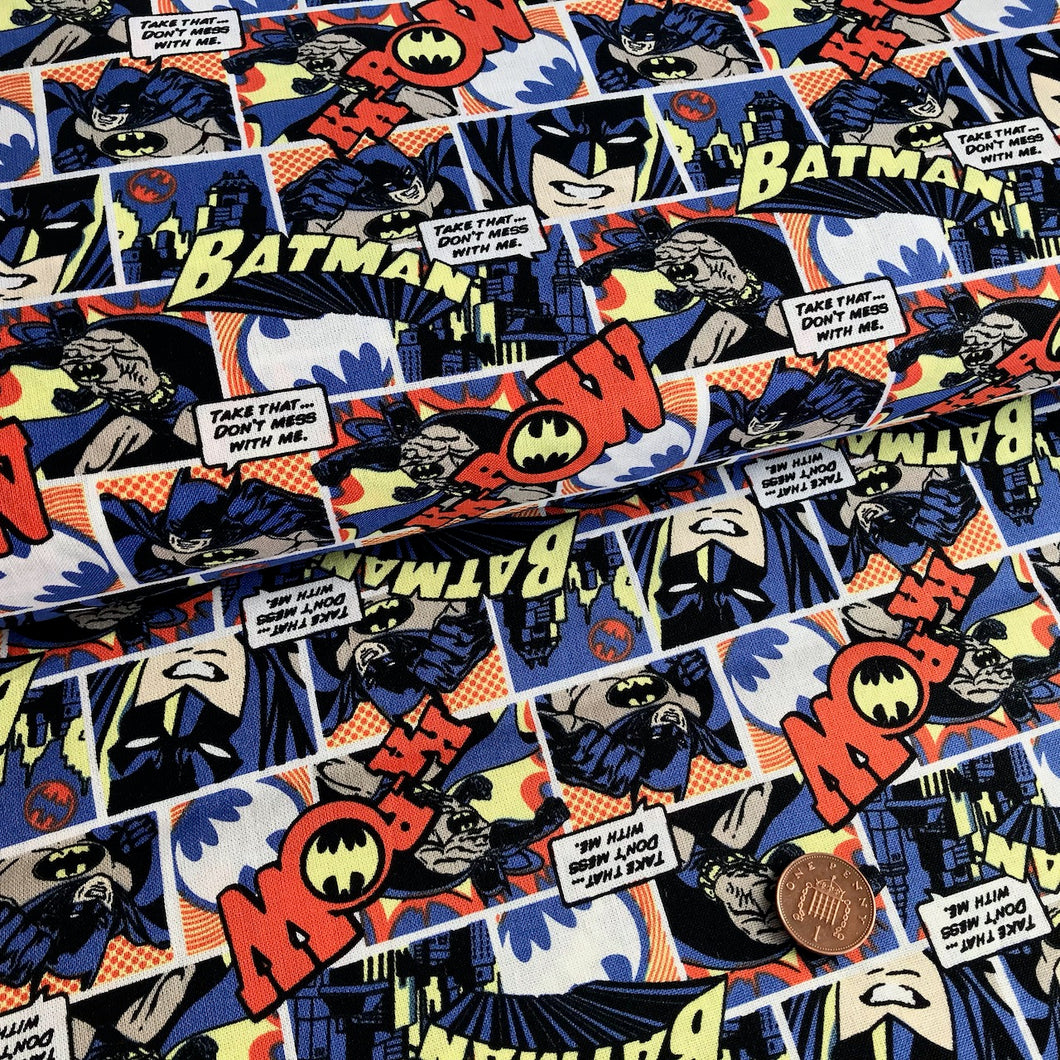 Batman Orange & Blue Comic Fabric 100% Cotton Per 1/2 Metre 112cm Wide