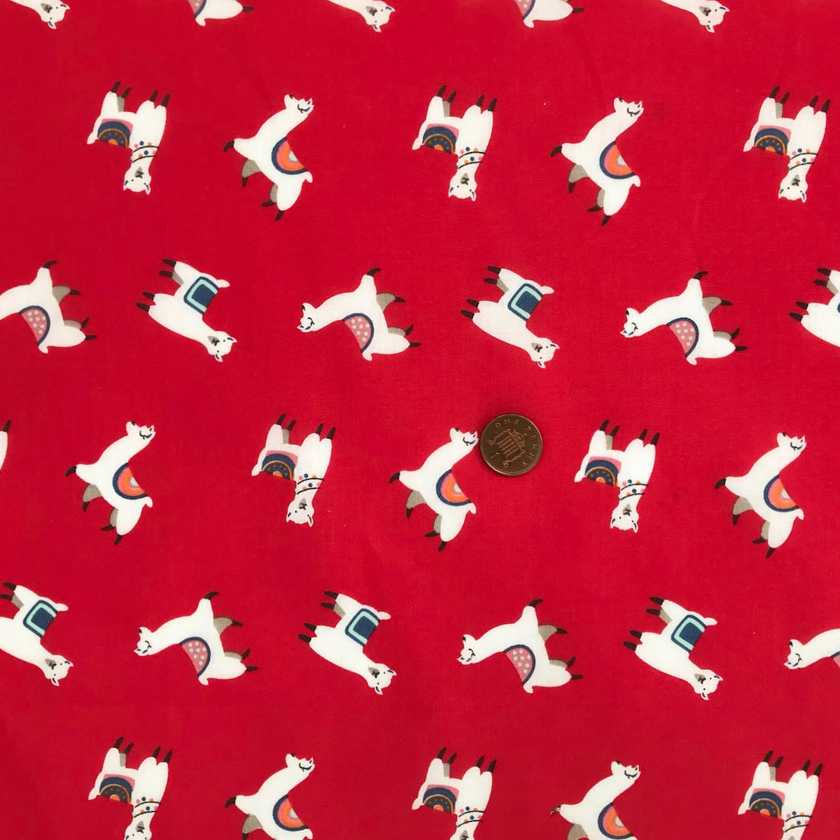 Red Llama Fabric Polycotton Per 1/2 Metre 112cm Wide