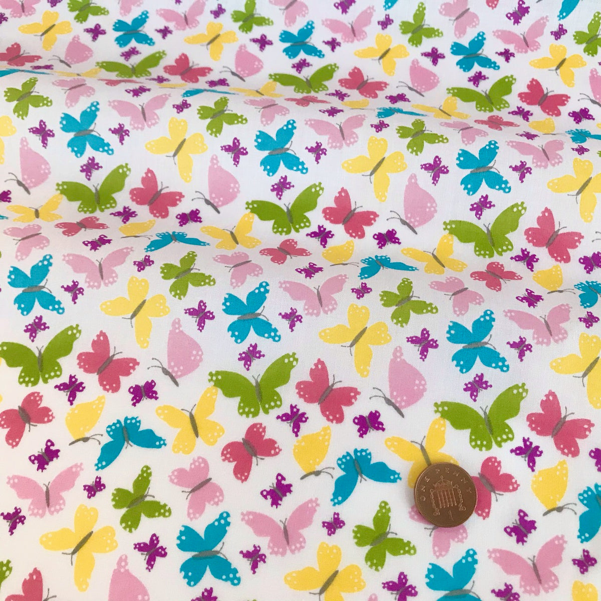 Rainbow Butterflies Fabric Polycotton Per 1/2 Metre 112cm Wide
