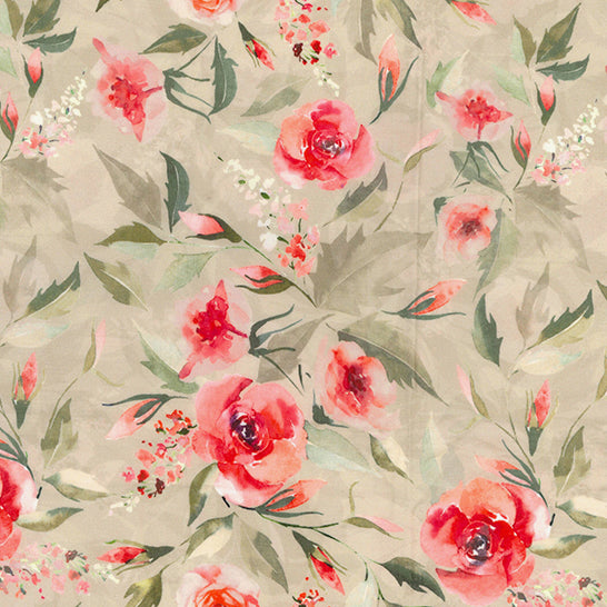 Rose bloom coral floral 100% cotton lawn  fabric sold per half metre 54
