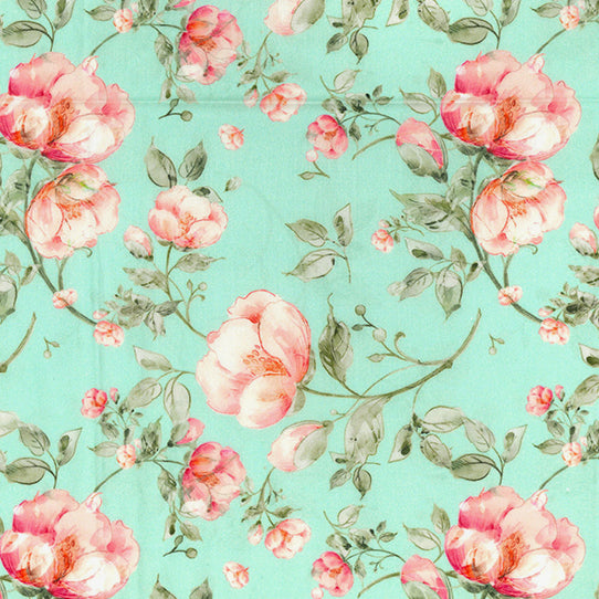 Aqua floral 100% cotton lawn  fabric sold per half metre 54