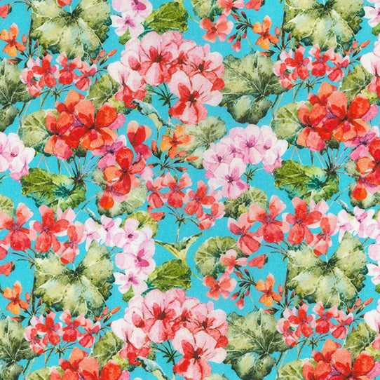 Geranium Blue Floral  100% cotton  fabric, sold per 1/2 metre, 137cm wide ( 58 inches )