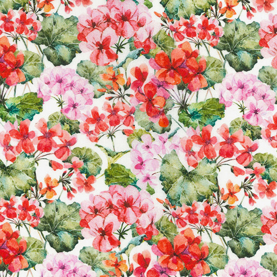 Geranium White Floral  100% cotton  fabric, sold per 1/2 metre, 137cm wide ( 58 inches )