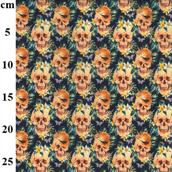 Floral skulls design 100% Cotton Fabric, 60 inches wide (150cm) sold per  Half  Metre ~