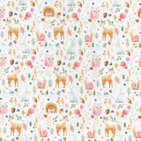 Woodland animals 100% Cotton Fabric, 60 inches wide (150cm) sold per  Half  Metre ~