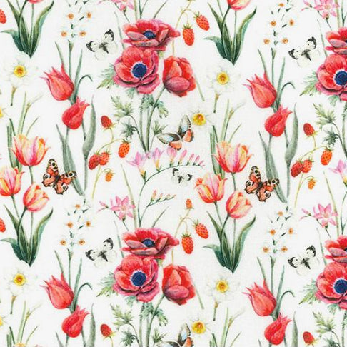 White Poppy &  butterflies design 100% Cotton Fabric, 60 inches wide (150cm) sold per  Half  Metre ~