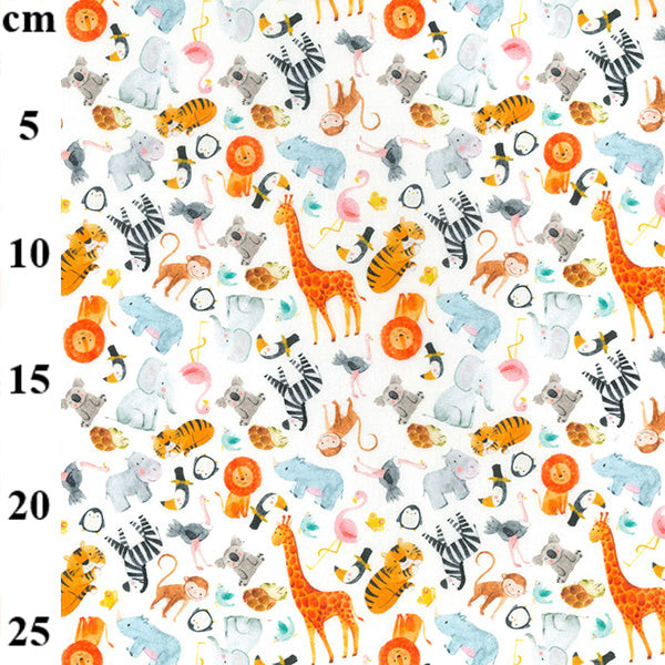 White Nursery Zoo animals 100% Cotton Fabric, 60 inches wide (150cm) sold per  Half  Metre ~