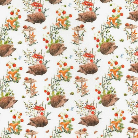 Hedgehogs & toadstools 100% Cotton Fabric, 60 inches wide (150cm) sold per  Half  Metre ~