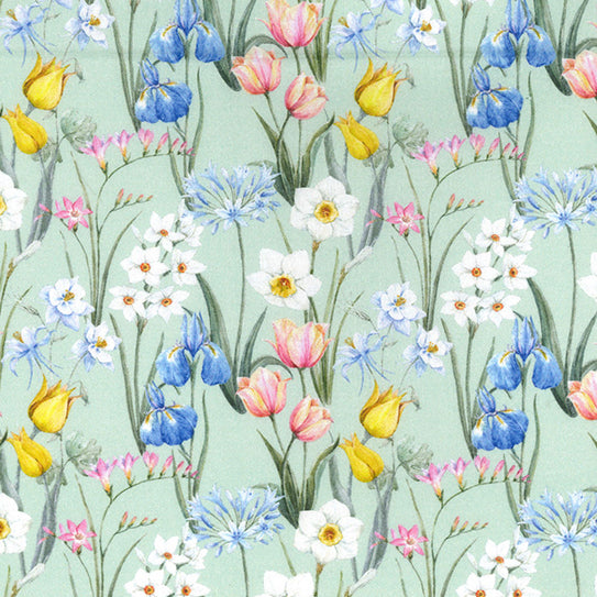 Spring tulips floral Cotton Fabric, 58 inches wide (140cm) sold per  Half  Metre ~