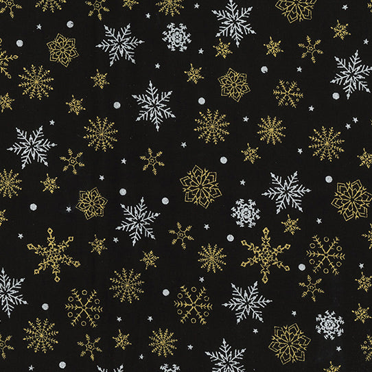 Black silver & Gold snowflake  Christmas  fabric sold per 1/2 metre 100% cotton