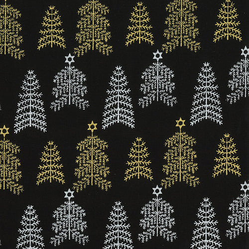Black silver & Gold Christmas tree design fabric sold per 1/2 metre 100% cotton