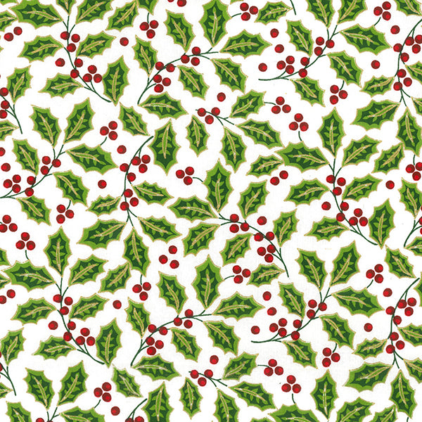 White, green & gold holly design Christmas Fabric 100 % Cotton sold per half metre 110cm wide