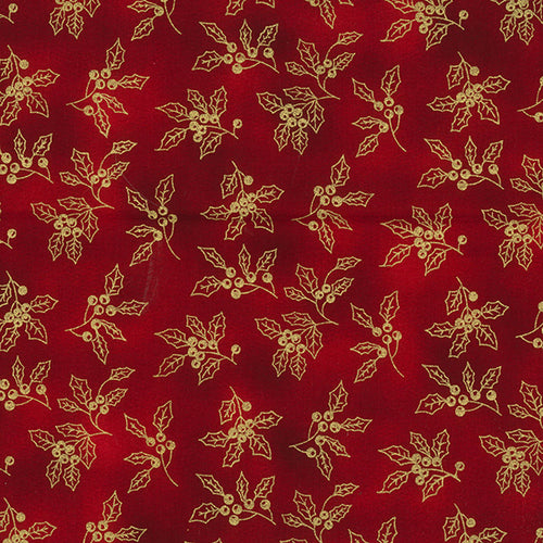 Rich red metallic holly design Christmas Fabric 100 % Cotton sold per half metre