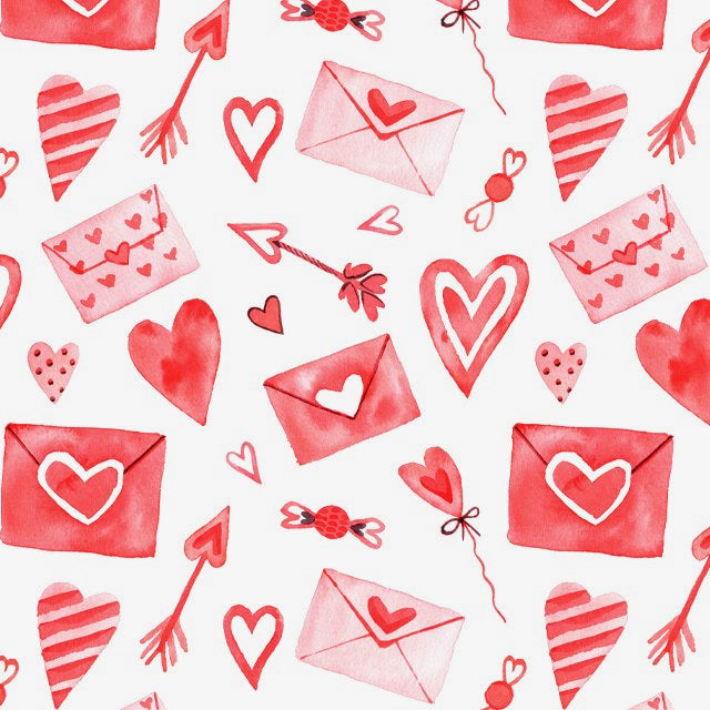 Valentines Mail Red & Pink Digital print 100% Cotton Fabric 149cm Wide Per 1/2 Metre