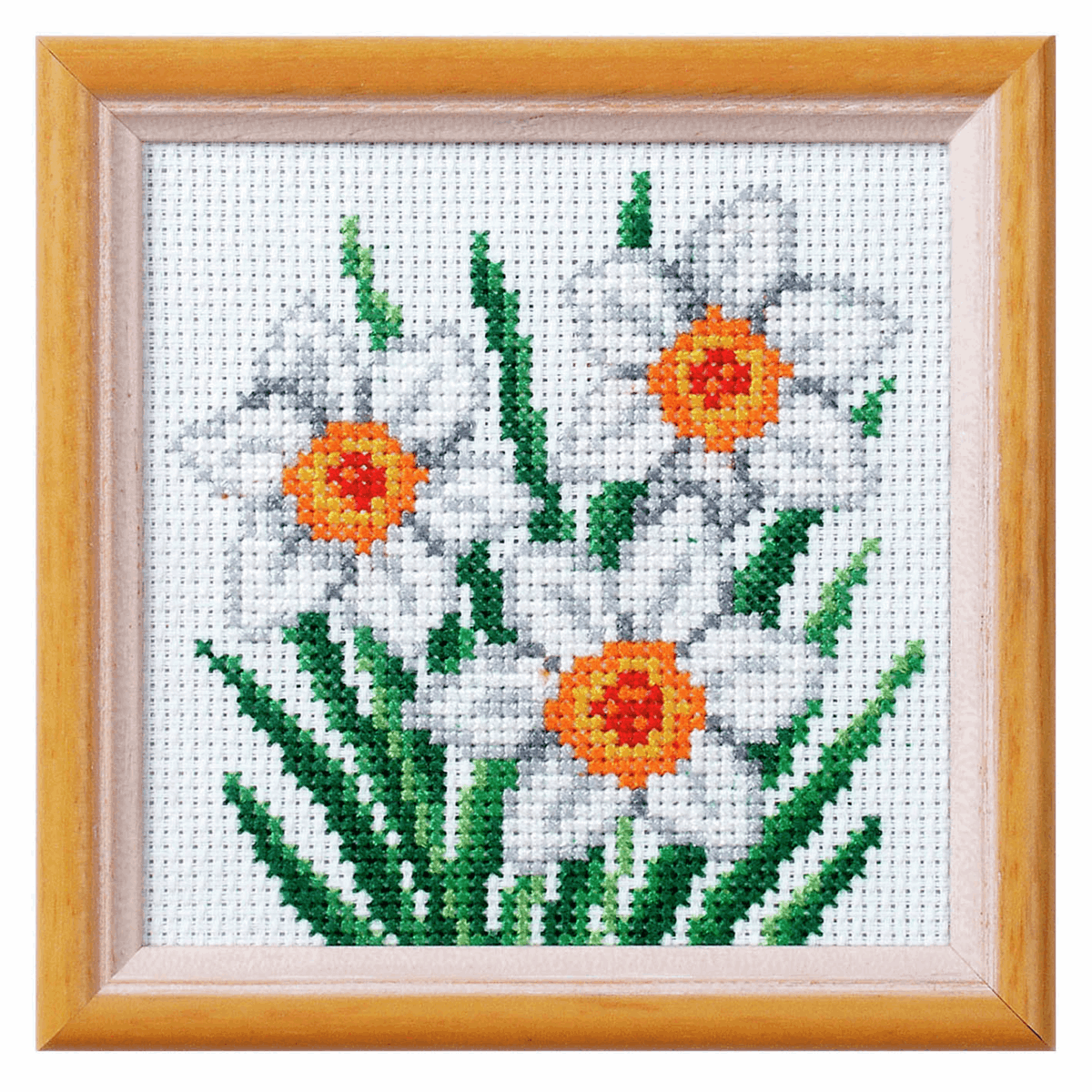 Narcissus Counted Cross stitch kit 11 x 11cm suitable for beginners