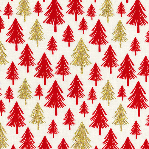 Ivory Glitter trees Christmas Fabric 100 % Cotton sold per half metre 54