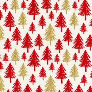 "Ivory Glitter trees Christmas Fabric 100 % Cotton sold per half metre 54"" wide"