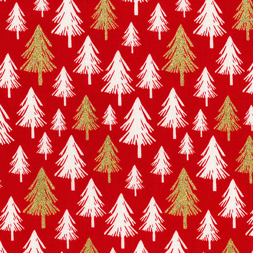Red Glitter trees Christmas Fabric 100 % Cotton sold per half metre 54