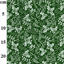 "Green & white festive holly Christmas Fabric 100 % Cotton sold per half metre 54"" wide"