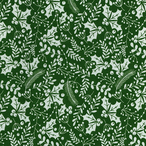 Green & white festive holly Christmas Fabric 100 % Cotton sold per half metre 54