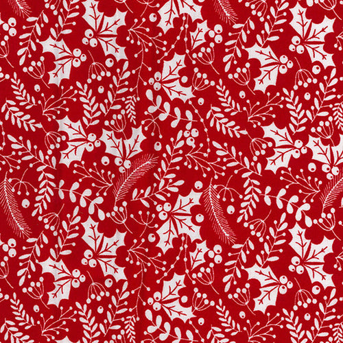 Red & white festive holly Christmas Fabric 100 % Cotton sold per half metre 54