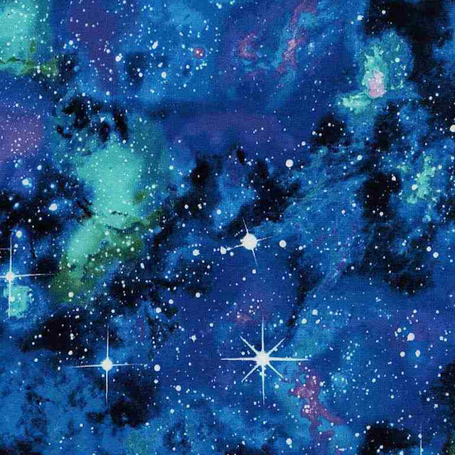 Space Galaxy blue & jade  Fabric 100% Premium Cotton by Timeless Treasures Per 1/2 Metre