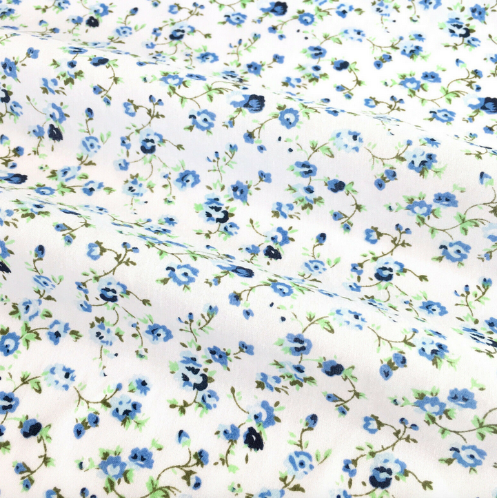 White & Blue Alana Florals Polycotton Fabric 112cm Wide sold PER 1/2 Metre