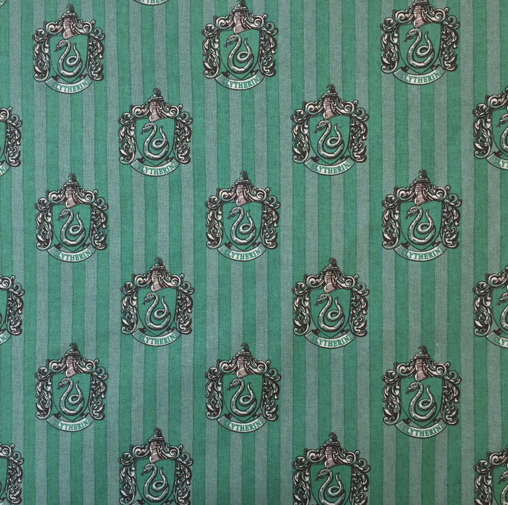 Harry Potter Slytherin house cup design 100% cotton fabric, 112cm wide per 1/2 metre