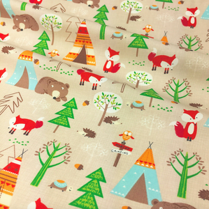 Camping in the Forest  Beige colour  100% Cotton Fabric, sold per 1/2 metre
