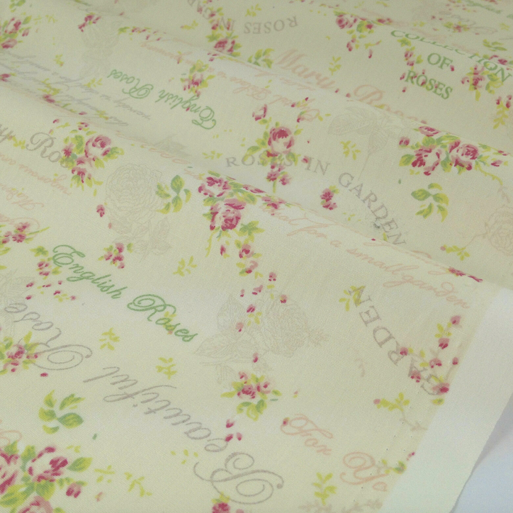 Cream Beautiful Rose dressmaking Cotton Poplin Fabric, half metre or fat quarter ~