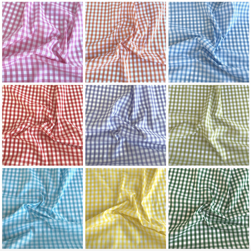 Gingham Polycotton Fabric, 1/4 Inch design, 15 Colours, Per Half Metre