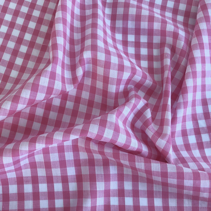 Cerise Pink gingham fabric