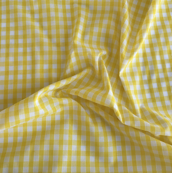 Yellow gingham fabric