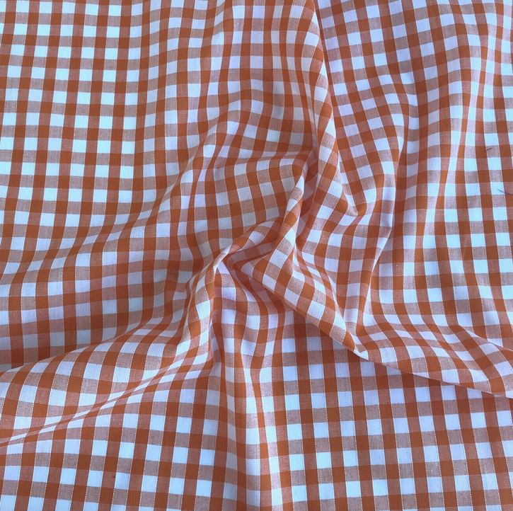 Orange gingham fabric