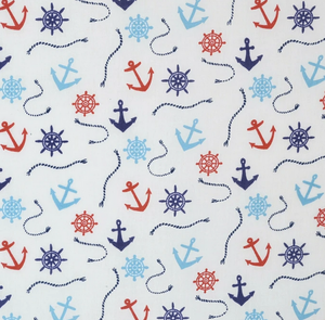 Nautical Anchors and Rope Ivory Polycotton Fabric Per 1/2 Metre