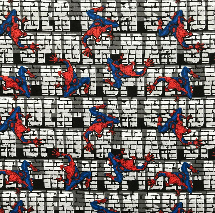 Climbing Spiderman Fabric 100% Cotton Per 1/2 Metre 112cm Wide