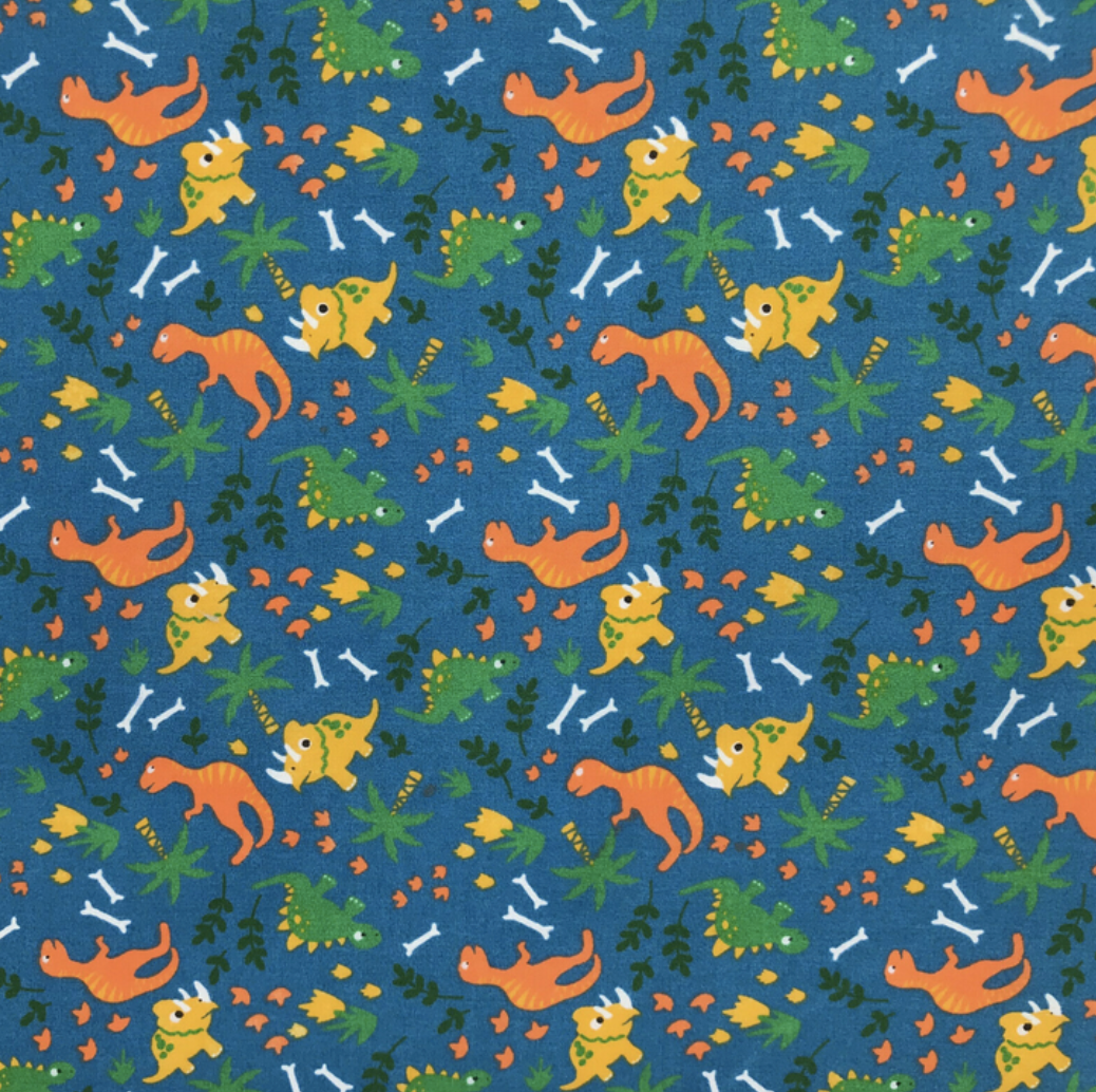 Blue Dinosaur Land Fabric Polycotton Per 1/2 Metre 112cm Wide