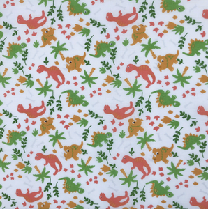 White Dinosaur Land Fabric Polycotton Per 1/2 Metre 112cm Wide