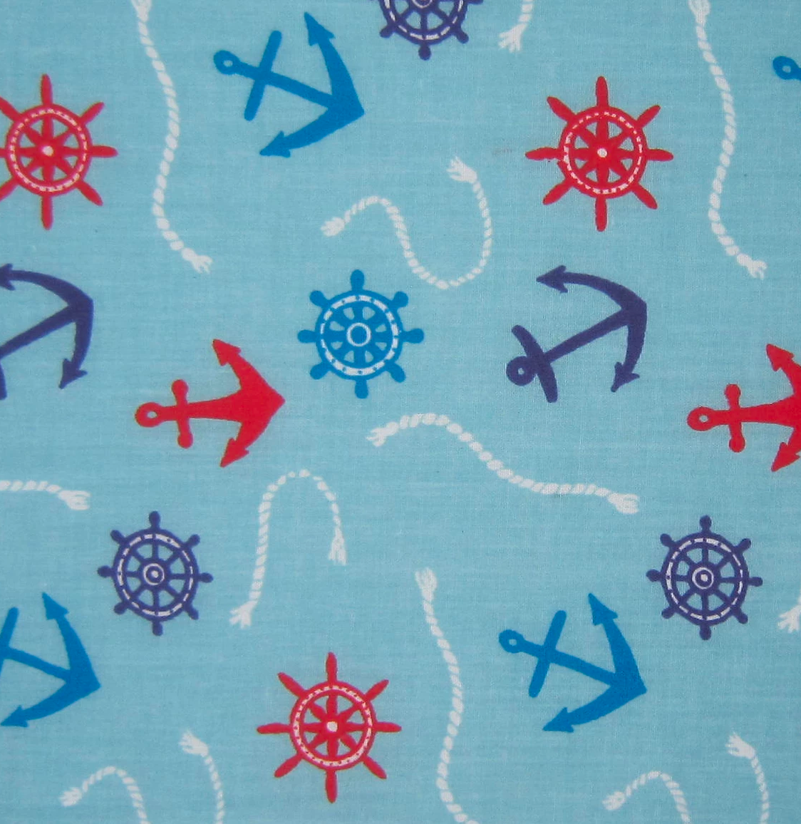 Pale Blue Nautical Anchors & Rope Fabric Polycotton Per 1/2 Metre 112cm Wide