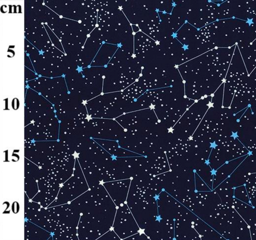 Navy Star Constellations 100% Cotton Fabric Sold Per 1/2 Metre 112cm Wide by Rose & Hubble