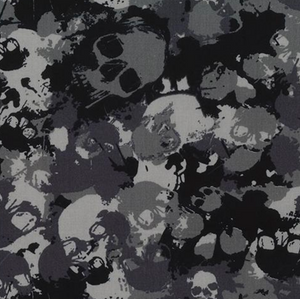 Grey Camouflage Skulls Fabric 100% Cotton Sold Per 1/2 Metre 112cm Wide by Rose & Hubble