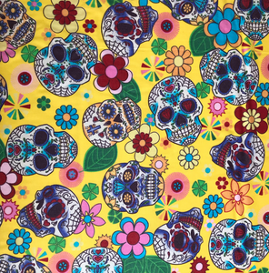 Yellow Funky sugar Skulls, Cotton Fabric, by the half metre, 112cm wide