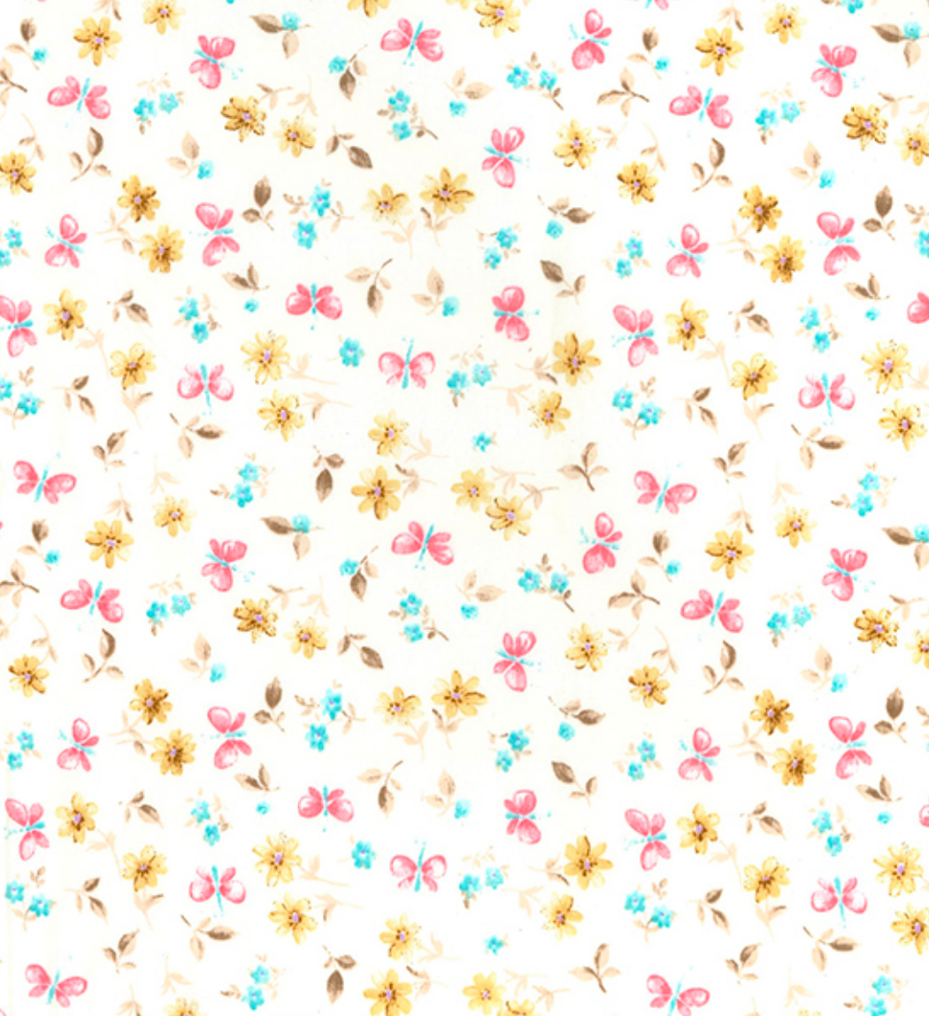Ivory Ella Floral and Butterflies 100% Cotton Poplin Fabric Sold Per 1/2 Metre 112cm wide