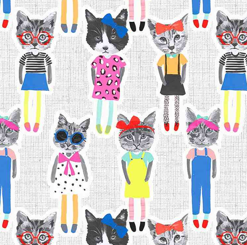Fun Cat People Fabric 100% Premium Cotton by Timeless Treasures Per 1/2 Metre