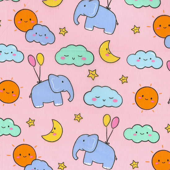 Elephants & balloons pink Polycotton Fabric Per 1/2 Metre 112cm Wide