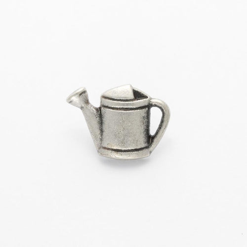 Silver colour metal watering can button, 18mm x 13mm, sold per ONE button